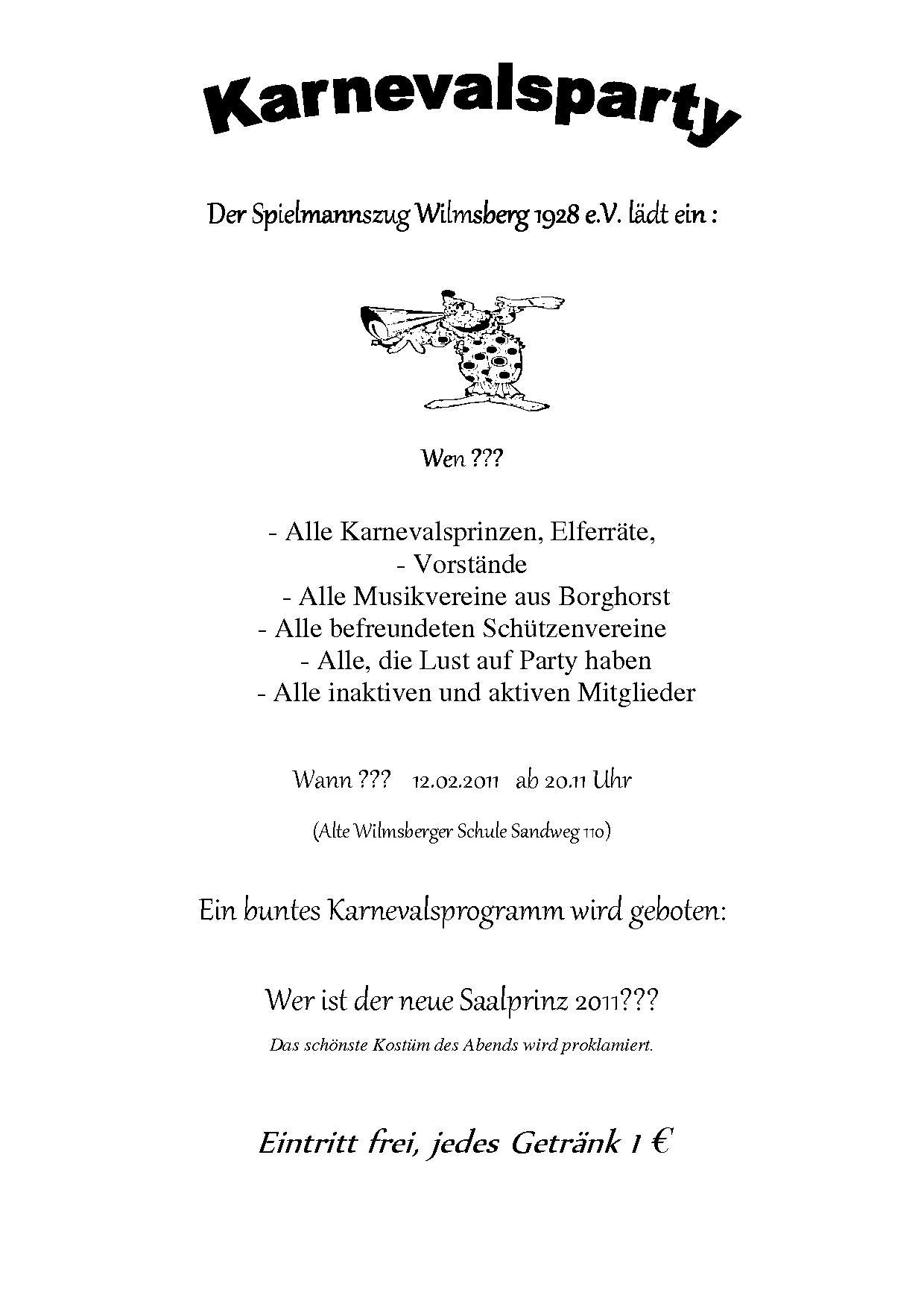 2011 Einladung zum Karneval Spielmannszug Wilmsberg 1928 e. V.